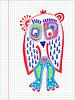doodle Eule Markierungszeichnung