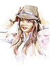 Vector clipart: watercolor portrait of young women with hat