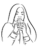 Vector clipart: beautiful young woman with tea, coffee cup