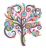 Vector clipart: doodle marker drawing of ornate tree