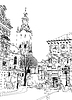 Vector clipart: sketch Lviv historical building