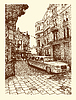 drawing of Lviv historical building, Ukraine