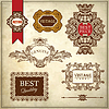 Vector clipart: ornate premium quality and guarantee labels