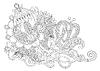 원래 손 그리기 라인 아트 화려한 꽃 디자인   Stock Vector Graphics