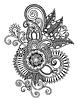 손으로 그리는 라인 아트 화려한 꽃 디자인   Stock Vector Graphics