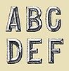 Vector clipart: hand draw sketch alphabet design