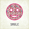 Pink ornamental pattern smile face silhouette