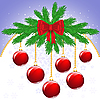 Vector clipart: Christmas card with balls