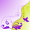 Vector clipart: yellow purple flower background