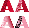 Vector clipart: initial flower letters A
