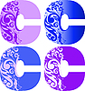 Vector clipart: initial flower letters C