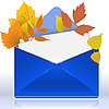 Envelope with autumn leaves | Stock Vector Graphics
