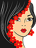 Vector clipart: Girl with red flowers
