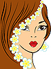Vector clipart: girl with white flowers