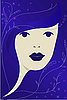 Vector clipart: blue woman portrait