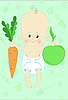 Vector clipart: Kid with apple and carrot