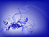 Vector clipart: blue flower design