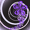 Vector clipart: abstract black background with purple floral swirl