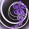 Векторный клипарт: абстрактный черный фон с фиолетовым цветочным водоворот