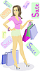 Girl with shopping bags | Stock Vector Graphics