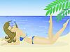 Vector clipart: girl on the beach