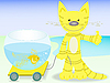 Vector clipart: cat with goldfish