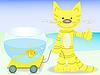 Векторный клипарт: кот с золотой рыбкой