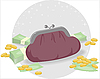 Vector clipart: purse and coins