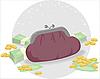 Geldbörse und Münzen