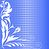 Vector clipart: halftone blue flowers