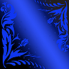 Vector clipart: blue flowers on black