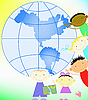 Vector clipart: children and globe