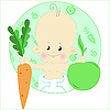 Vector clipart: Kid and Fruits