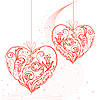 Vector clipart: hearts on string