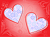 Vector clipart: Frame of two hearts