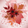 Vector clipart: autumn leaves and flowers