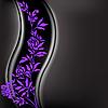 Векторный клипарт: Черный фон с фиолетовой веткой