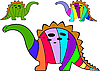 Vector clipart: striped dinosaurs