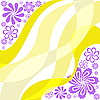 Vector clipart: purple flowers on yellow