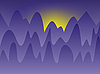 Vector clipart: sunset in the mountains
