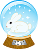 Vector clipart: glass bowl with rabbit