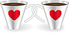 Vector clipart: Cups with hearts