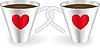 Векторный клипарт: Чашки с сердцем