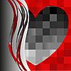 Vector clipart: black heart on the asymmetric background