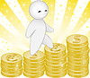 Vector clipart: man rises the stairs from the stacks of coins