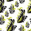 Vector clipart: Black-and-green floral seamless