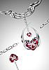 Heart-shaped ruby necklace