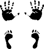 Vector clipart: Colour prints of feet and hands