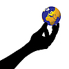 Vector clipart: Human hand and planet.