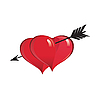Vector clipart: Black arrow penetrating two red heart